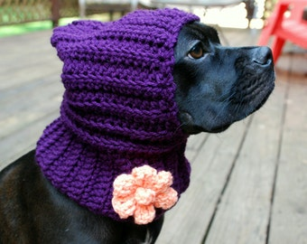 Crochet Hooded Dog Snood Plum with Peach Flower MADE TO ORDER