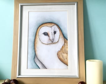 Barn owl watercolour art print, a4, a5, 240gsm paperstock, owl fan gift