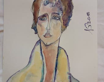 Tristeso-Watercolour No. 30-2018-Modigliani Atupertuarte original watercolor Italian Art