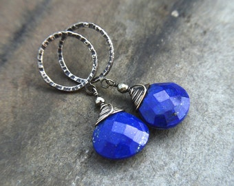 Hammered Posts Earrings / Sterling Silver Lapis Earrings / Pyrite / Gift / Blue Earrings / Post Earrings / Oxidized Silver Earrings