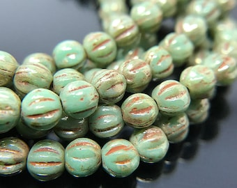 Green Picasso Glass Melon Beads, Small Green Czech Glass Melon Beads with Picasso Finish, Round Green Glass Beads, 4mm - 49 beads (MEL-21)