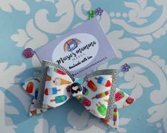 Ice lolly/summer/ice cream double sided fabric hairbow