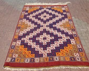 Orange and blue Kilim rug, Vintage Turkish kilim rug, area rug, kilim rug, kelim rug, vintage rug, bohemian , Turkish rug, diamond rug, 111