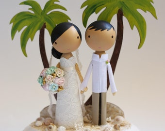 custom wedding cake topper - beach base
