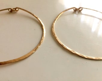 Handmade hammered Circle hoops , 14k Gold Filled, Sterling silver, or rose gold, 50mm, 2 inches, 1 pair, style  Deblg