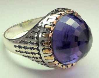 925 Sterling Silver Men's Ring with Totally Handmade Real Amethyst