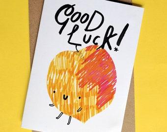 Good Luck Peach Greeting Card