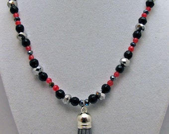 Agate and Suede Tassle Necklace