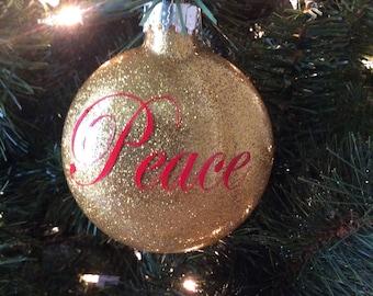 Peace Disc Glass Ornament