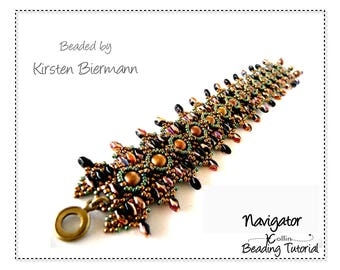 Double Band Beading Pattern Beading Instructions Bracelet with pearls Beading Tutorial Handmade Jewelry Pattern Tutorial NAVIGATOR