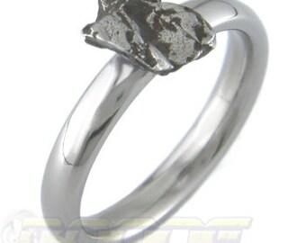 Meteorite Solitare Ring