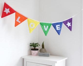 Love Bunting - Peace Bunting - Home & Living - Wall decor - Rainbow