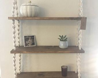 Three tier bohemian hanging macrame shelf