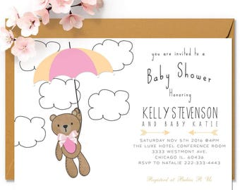 Teddy bear baby shower invitation, Pink or Blue teddy bear invitation, baby shower invitation, cloud baby shower invitation