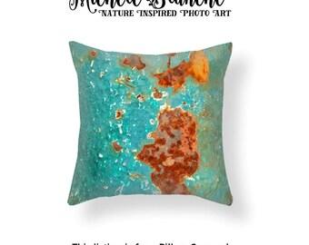 Green Rust Photo Pillow, Peeling Paint Photo Image Toss Pillow, Industrial Rust Urban Art Decor, Edgy Decor Green Rust Throw Pillow Cover