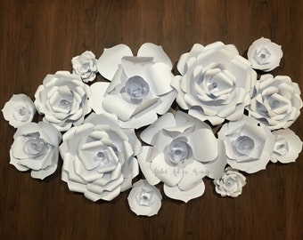 Paper Flowers Backdrop, White Paper Flower Wall, Paper Flower Decoration, Nursery Decoration, Wedding Decoration, Home Decoration