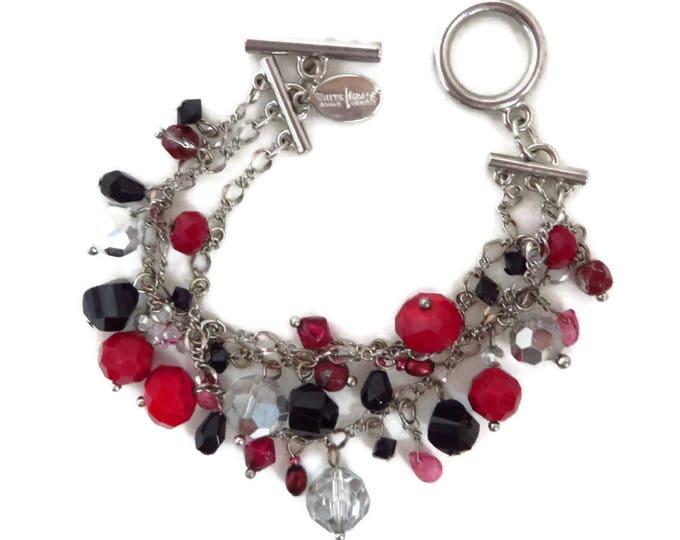 Cha Cha Bracelet, Vintage Beaded Bracelet, White House Black Market, Red, Black & Clear Bead Chain Link Bracelet