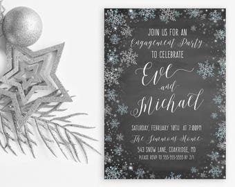 Engagement Party Invitation, Winter Engagement Party Invitations, Snowflake Engagement Party Invitations, Engagement Party Invitations [692]