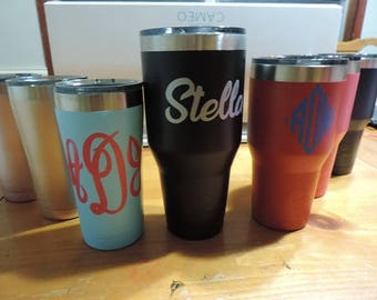 Personalized Tumbler - Metal, Double Wall Insulated Travel Cup With Lid