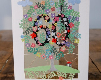 60th Birthday Card - luxury laser cut-out -made in England