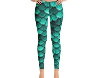 Mermaid Leggings - Teal green mermaid tail workout wear, comfortable yoga pants for women to go with your mermaid hair, by Glimmersmith