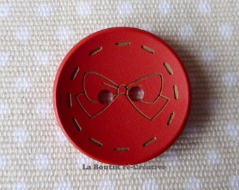 Set 4 x large round buttons red pattern wood bow 30mm