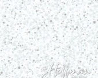 Hoffman Bali Fabrics - Poinsettia Song - Q7637 113 - Frost Silver - 100% cotton screenprint with metallic