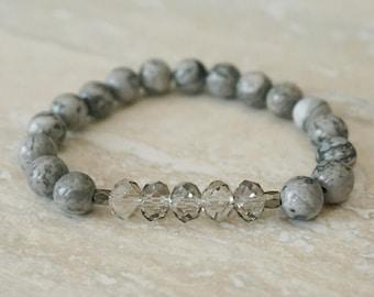 Crystal Bracelet, Gray Bracelet, Gifts under 20, Gemstone Bracelet, Simple Jewelry, Mothers Day Jewelry, Beaded Bracelet, Crystal Jewelry