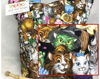 Large Cats in Costume Knitting Bag, Large Crochet bag, Knitting bag,