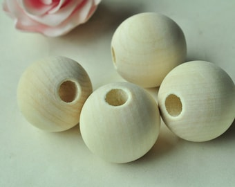 4pcs 35mm Large Natural Wood Bead Unfinished Spacer Bead Round Ball Bead Large Hole MT448