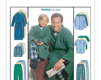 McCalls Sewing Pattern M6236, Father Son Robes, Boys Pajamas, Mens Pajamas, New Uncut Pattern