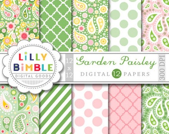 PAISLEY digital papers in green, pink, yellow, Garden scrapbooking paper pack INSTANT DOWNLOAD
