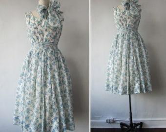 1950s floral dress | vintage 50s floral dress | 1950s fit and flare dress | chiffon dress | 1950s party dress | Greta's Garden Party Dress