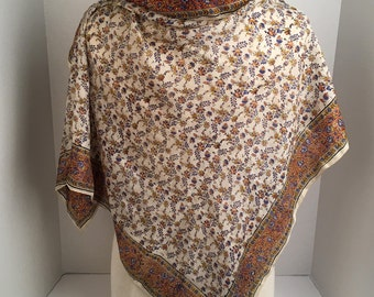 India Floral Print Silk Chiffon Scarf 34 inch Square Ivory Delicate Blue Brown Flowers