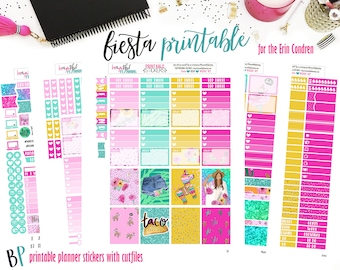 Fiesta | Weekly Printable Planner Kit | Planner Stickers | Cut Line Files | for use with Erin Condren | Planner Stickers Printables