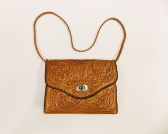 Vintage 1970's Hand Tooled Leather Handbag