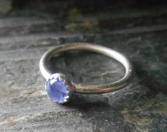 Tanzanite sterling silver ring, December birthstone or Mother's stacking ring, Minimalist ring