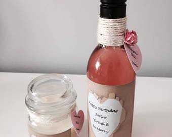 Personalised Mini Wine Bottle & Candle Gift / Favour