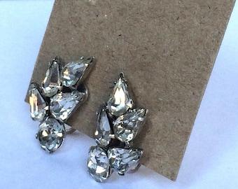 Vintage Signed Kramer N.Y. Rhinestone Screw Back Earrings - Silvertone - Small Earrings - Deco - Clear Rhinestones