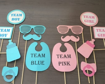 Gender Reveal Photo Booth Props with Wooden Dowels