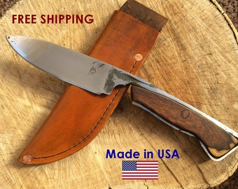 Hand forged knife with Ironwood handle