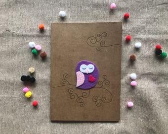 Felt owl illustrated kraft notebook / journal lined