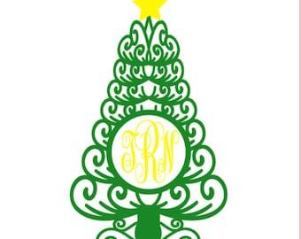 Custom Christmas Tree Vinyl Decal, Christmas Monogram, Car Decal, Custom Holiday monogram vinyl decal sticker, personalized decal