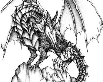 Dragon, Giclee art print. A4, Original drawing, Black and white art, Ink art, illustration, Fine art, art print, art, drawing, fantasy