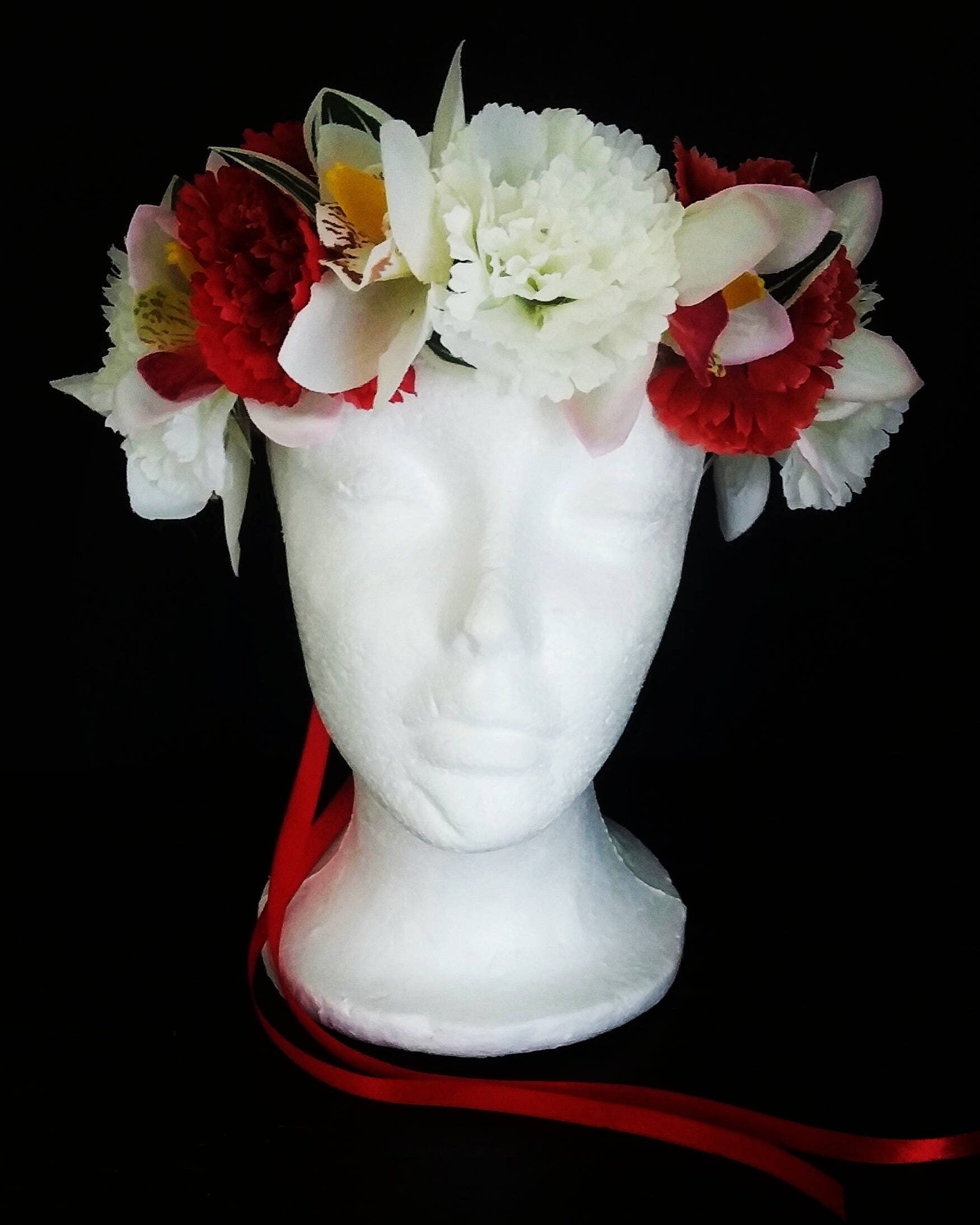 Flower Crown Red And White Flower Crown Boho Flower Crown