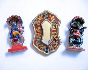 Take 20% off TWO Miniature Dancing Shivas PLUS Mini Peruvian Floral Painted Hand Mirror
