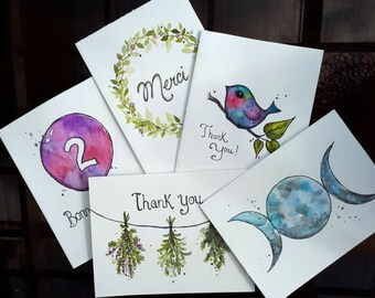 5 pack-( Handpainted Greeting Cards )