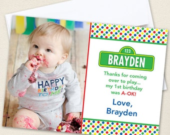 Sesame Street Photo Thank You Cards - Professionally printed *or* DIY printable