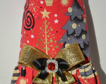 Dog Harness Vest - Red & Gold Christmas Tree Bling Bow Harness - Winter