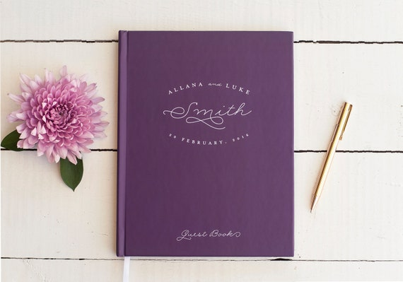Wedding Guest Book Purple Wedding Guestbook Custom Guest Book Personalized classic custom design wedding gift keepsake reception plum wine